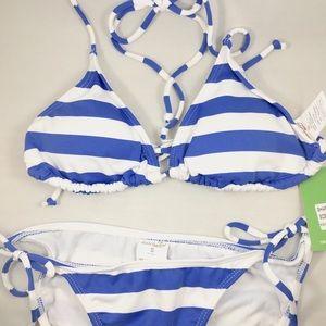 Other - [Beach Joy] 2 piece blue+white striped bikini